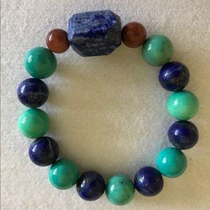 Handmade bracelet, Lapis, Opal, bloodstone Gems